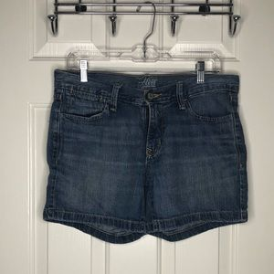 Light wash midlength denim shorts